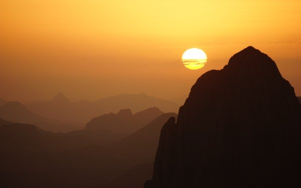 Earth Mountain Mountains Algeria Africa Assekrem Hoggar Mountains Sunset Sun Sky Tassili N'Ajjer HD Wallpaper   Background Image