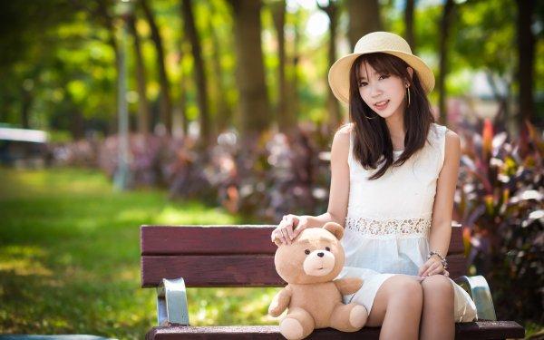 Women Asian Woman Model Brunette Earrings Hat Teddy Bear Depth Of Field Brown Eyes Smile HD Wallpaper | Background Image