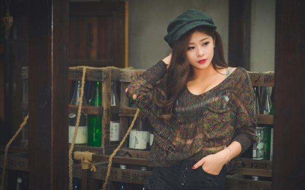 Women Asian Woman Model Brunette Brown Eyes Lipstick Cap HD Wallpaper | Background Image