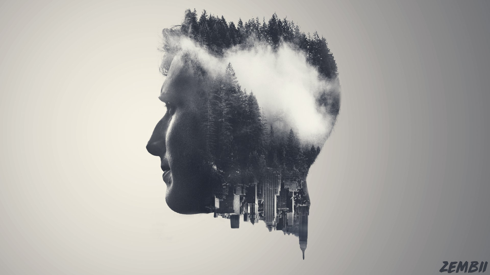Men - Artistic  Black & White Man Double Exposure Face Wallpaper