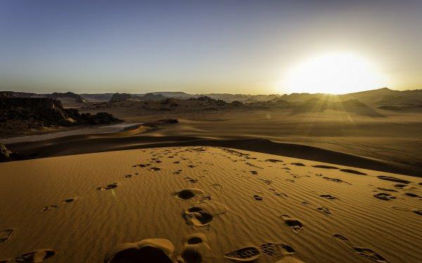 Earth Desert Tassili N'Ajjer Algeria Africa Sahara Sand Dune Landscape HD Wallpaper | Background Image