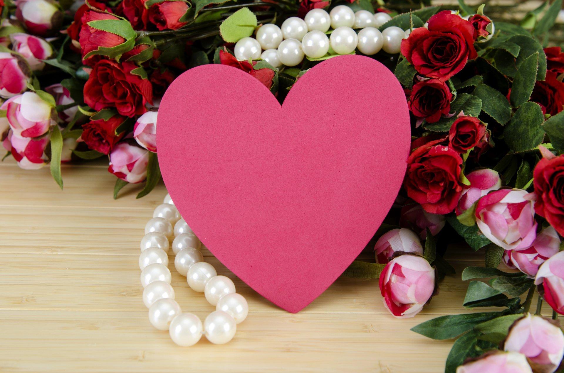 Wakacje - Walentynki  Wakacje Kwiat Pearl Serce Pink Tapeta