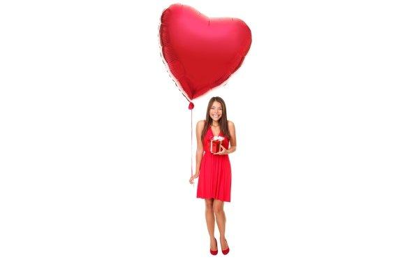 Women Model Models Woman Balloon Red Dress Gift Smile Brown Eyes Brunette HD Wallpaper   Background Image