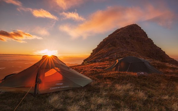 Photography Camping Tent Sunset Mountain HD Wallpaper | Background Image