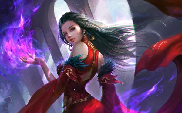 Fantaisie Sorcière Magicienne Red Dress Purple Eyes Fond d'écran HD | Image