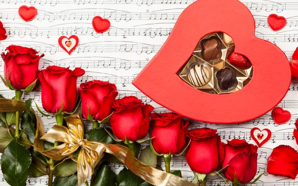 Holiday Valentine's Day Rose Red Rose Ribbon Sheet Music Heart Chocolate HD Wallpaper | Background Image