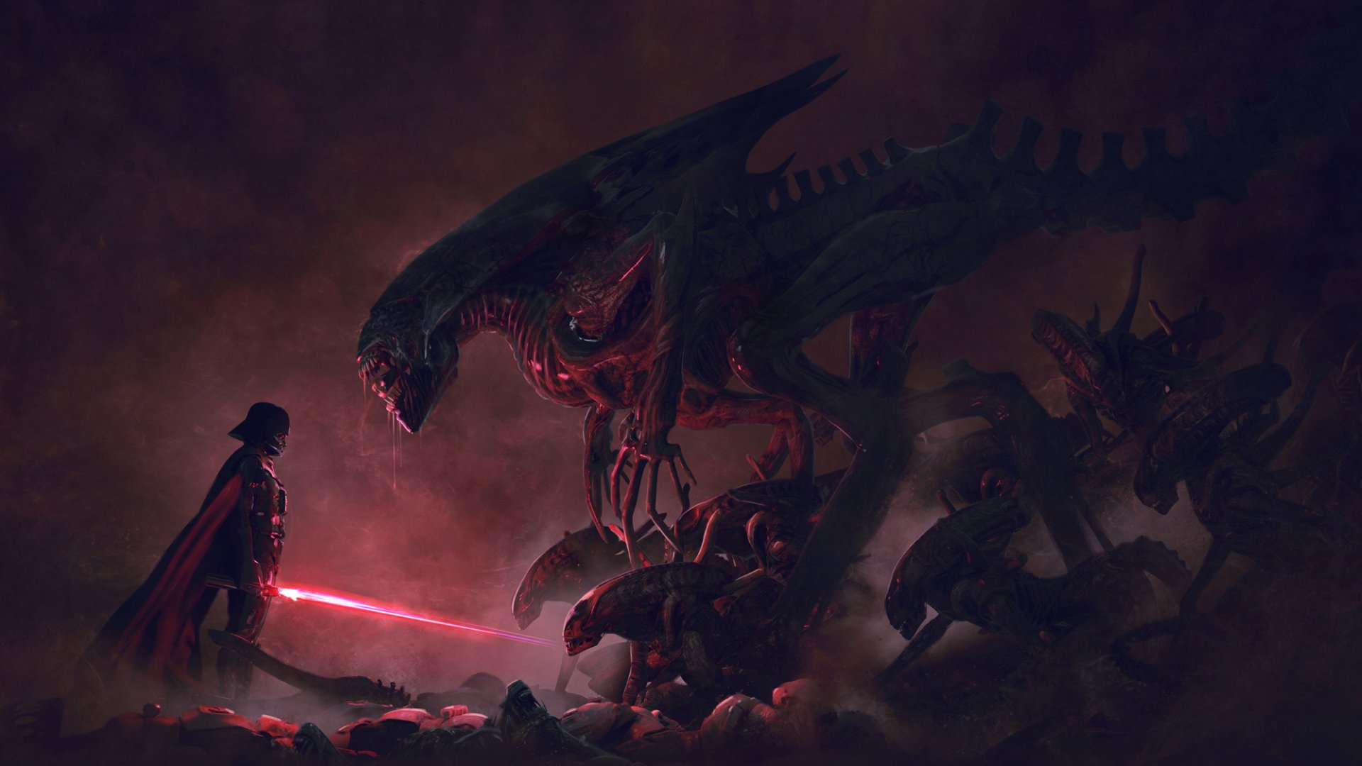 Movie - Crossover  Xenomorph Alien Darth Vader Wallpaper