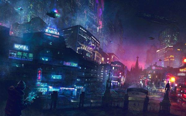 Sci Fi City Night Light Building Skyscraper Vehicle Futuristic City Cyberpunk Cityscape HD Wallpaper | Background Image