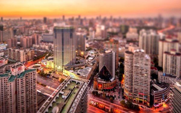 Man Made Shanghai Cities China Street Building Sunset City Skyscraper Depth Of Field Tilt Shift HD Wallpaper | Background Image
