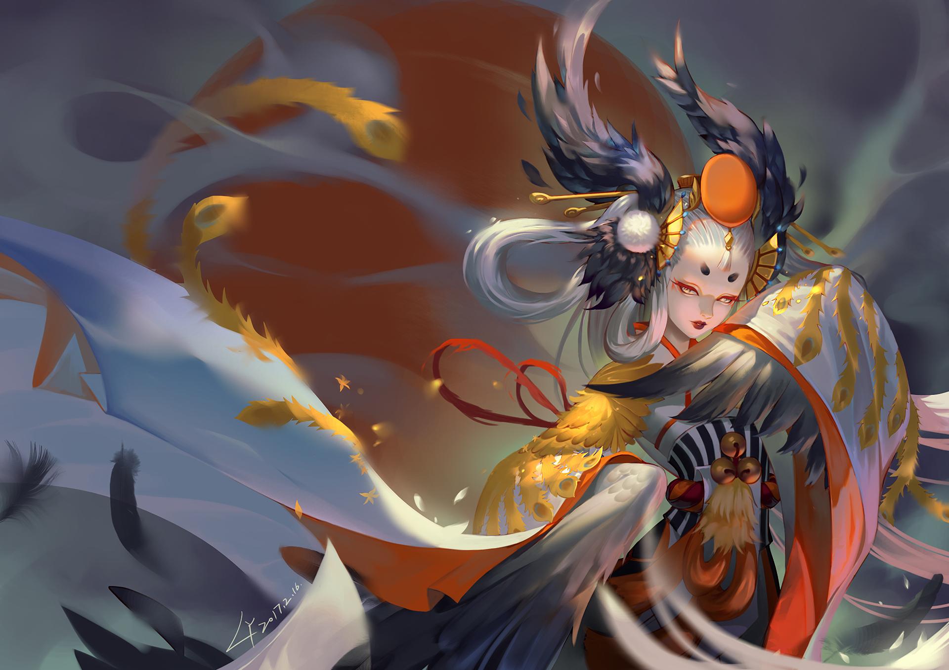 Anime - Onmyouji  Gu Huo Niao Girl White Hair Long Hair Grey Eyes Headdress Oriental Wallpaper