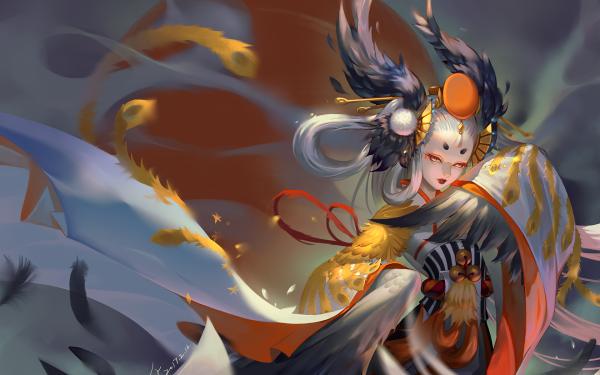Anime Onmyoji Gu Huo Niao White Hair Long Hair Grey Eyes Headdress Oriental HD Wallpaper | Background Image