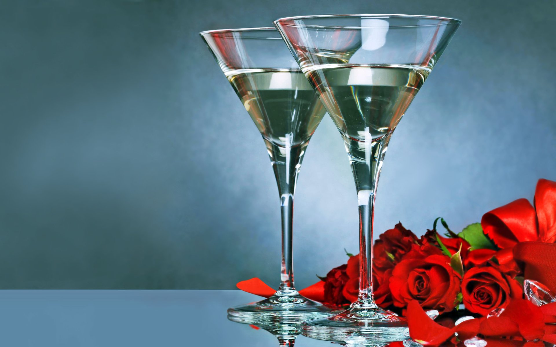 Holiday - Valentine's Day  Bouquet Champagne Glass Rose Wallpaper