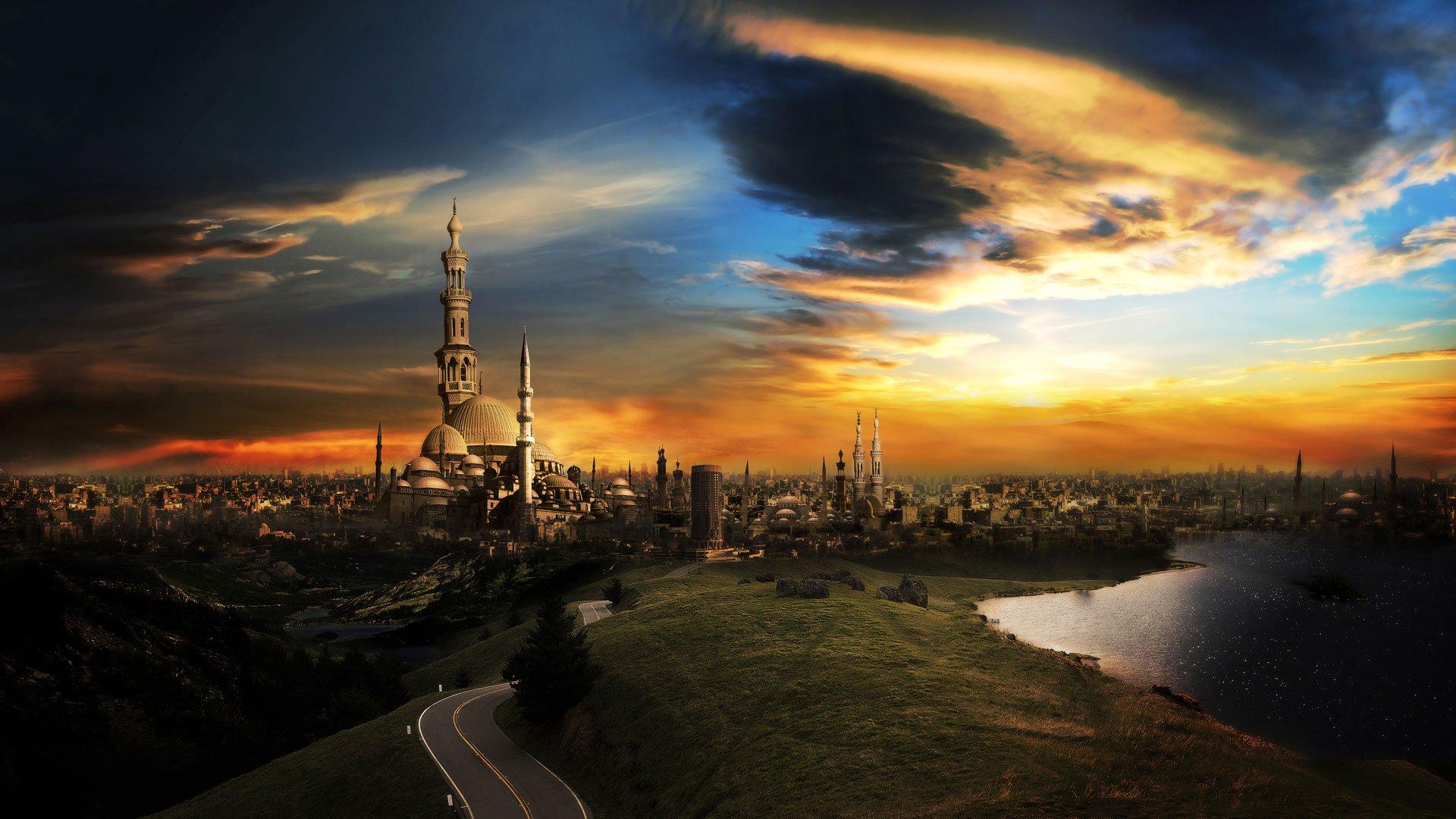 Man Made - City  CGI Landscape Cloud Sky Sunset Lake Road Islam Wallpaper