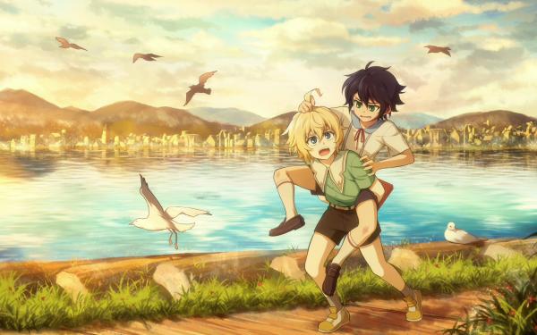 Anime Seraph of the End Yūichirō Hyakuya Mikaela Hyakuya Blonde Black Hair Green Eyes Blue Eyes Shorts Socks Sky HD Wallpaper | Background Image