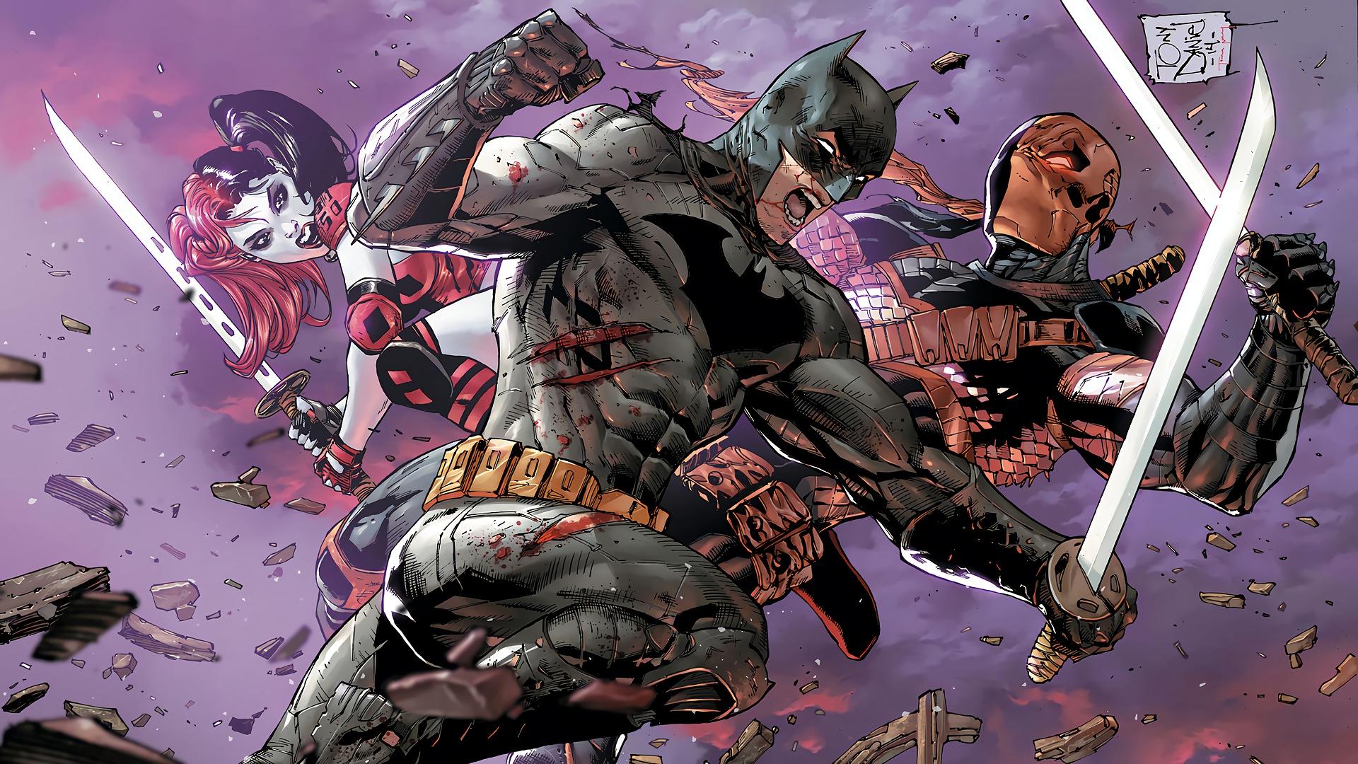 batman vs deathstroke full hd wallpaper and background