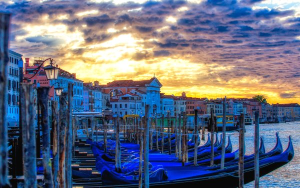 Man Made Venice Cities Italy Gondola Dawn Building HD Wallpaper | Background Image