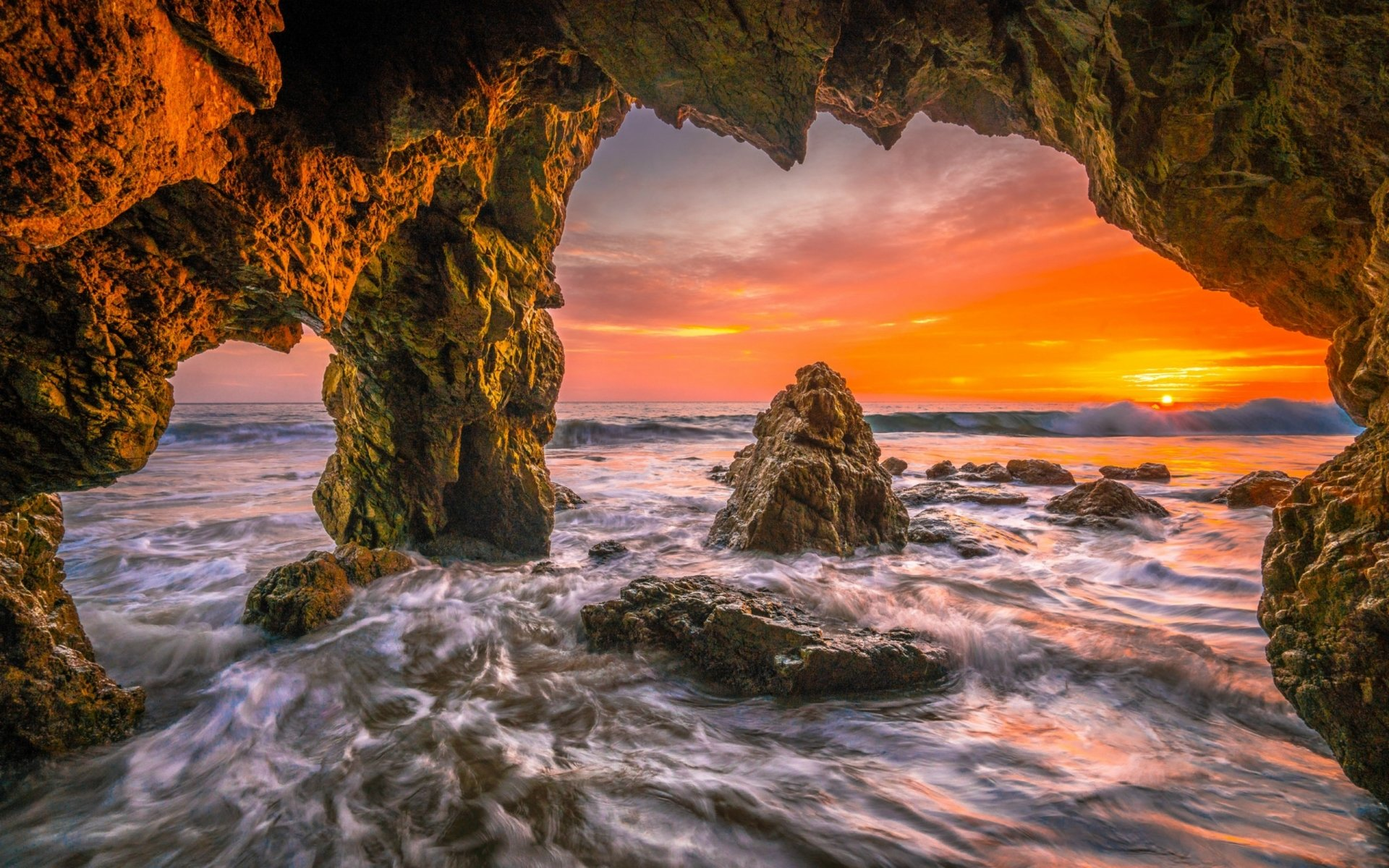 Ocean Cave at Sunset HD Wallpaper | Background Image ...
