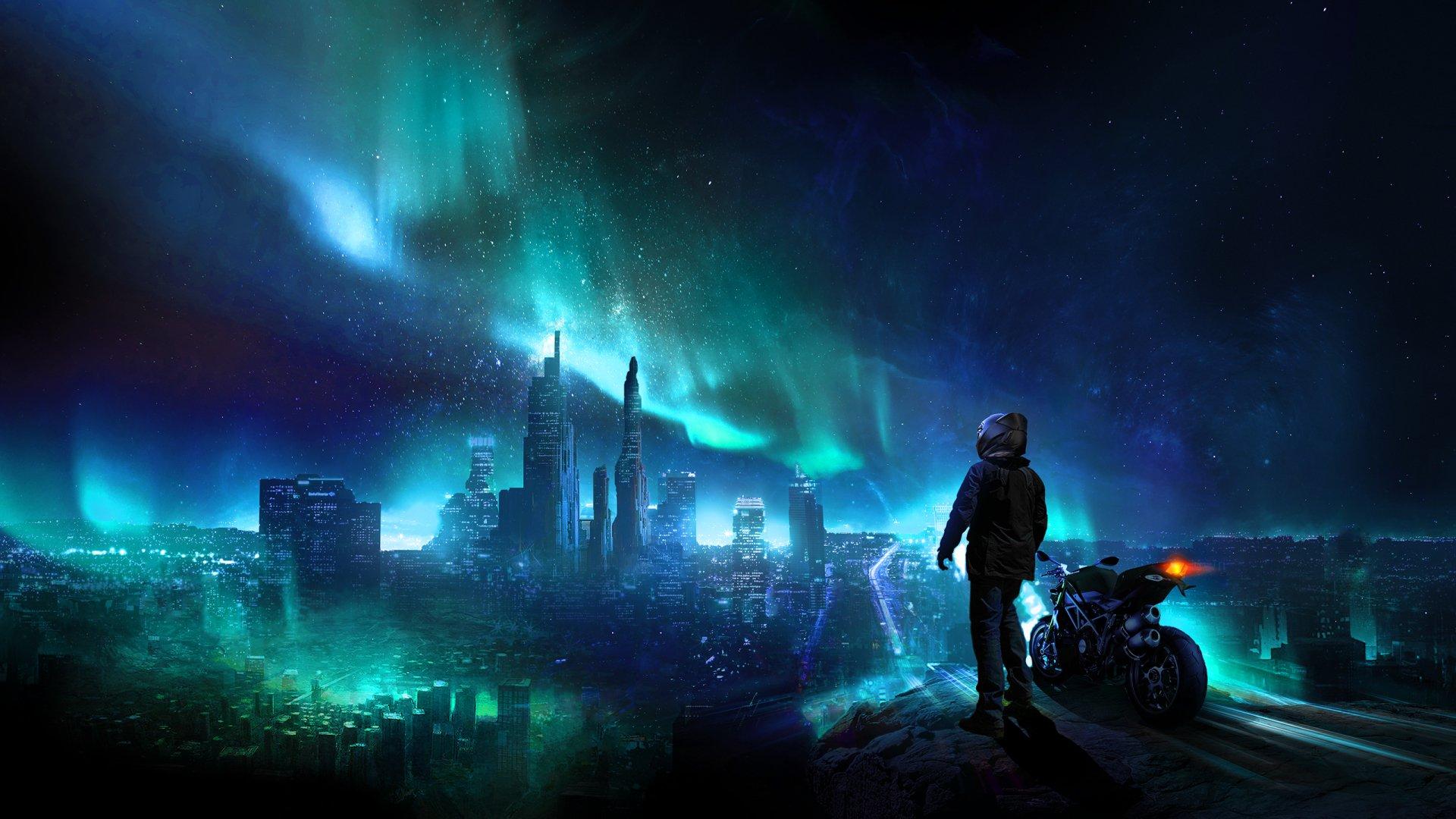 Sci Fi - City  Aurora Borealis Light Cityscape Night Colors Helmet Motorcycle Futuristic Wallpaper