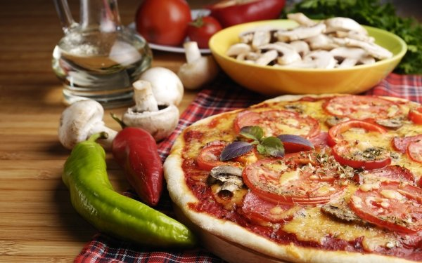 Food Pizza Still Life Pepper Mushroom HD Wallpaper | Background Image
