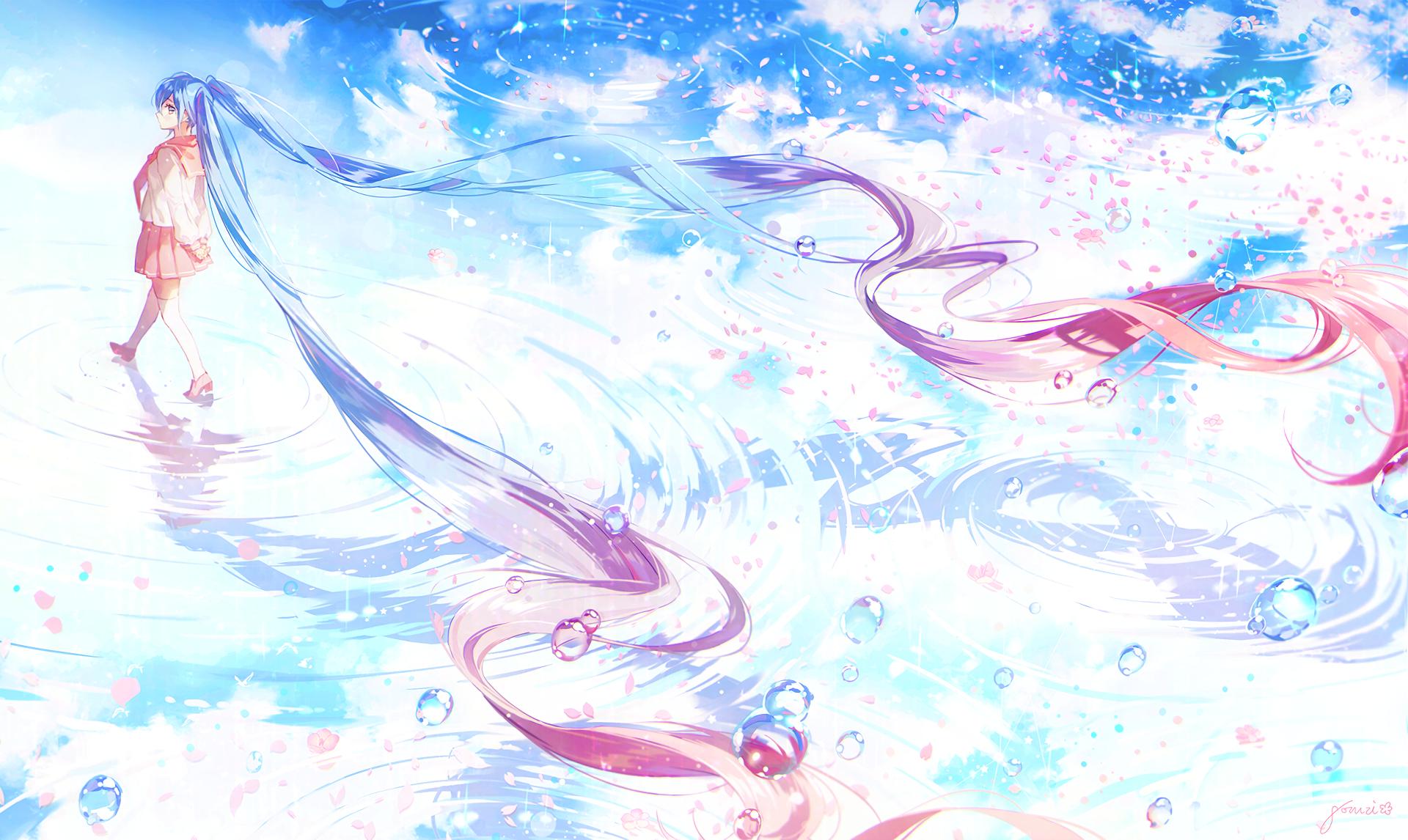 Anime - Vocaloid  Girl Hatsune Miku Long Hair Bubble School Uniform Petal Reflection Water Twintails Skirt Anime Wallpaper