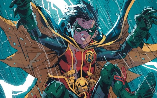 Comics Batman Robin Damian Wayne DC Comics Rain Black Hair HD Wallpaper   Background Image