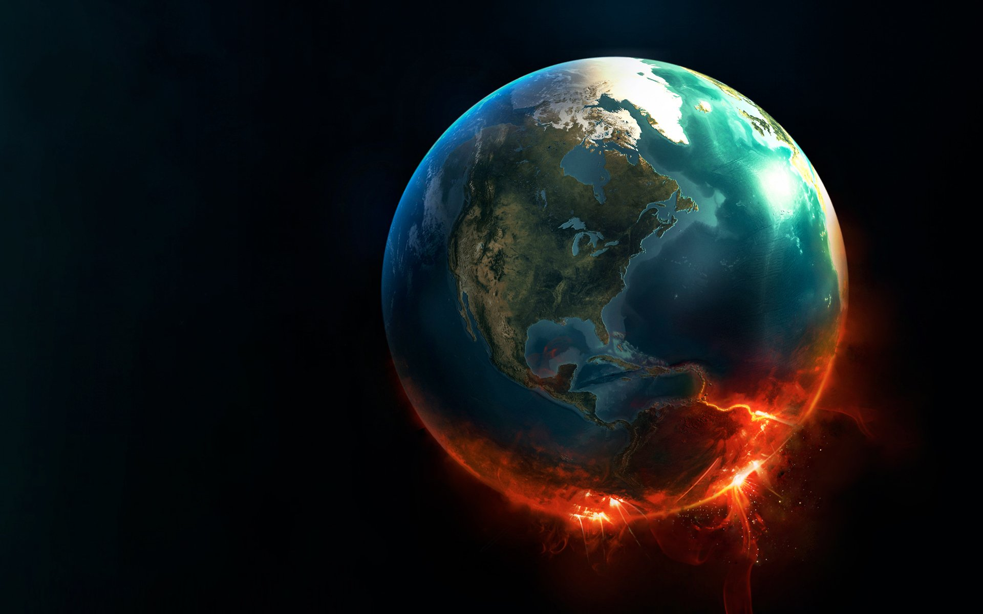 CGI - Real World  Fire Earth Space Wallpaper