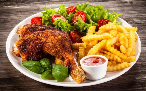 Alimento Comida Carne Pollo Ensalada Tomate French Fries Fondo de pantalla HD | Fondo de Escritorio