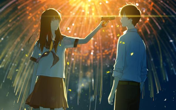 Anime Original Fireworks Gun School Uniform Night HD Wallpaper   Background Image