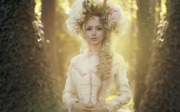 Fantasy Women Dress Flower Wreath Hair Forest Braid Blonde HD Wallpaper | Background Image