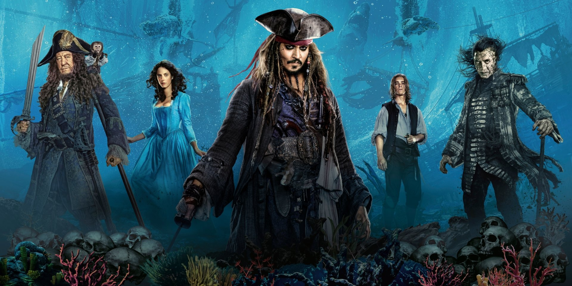 Movie - Pirates Of The Caribbean: Dead Men Tell No Tales  Jack Sparrow Johnny Depp Carina Smyth Kaya Scodelario Geoffrey Rush Hector Barbossa Javier Bardem Captain Salazar Brenton Thwaites Henry Turner Wallpaper