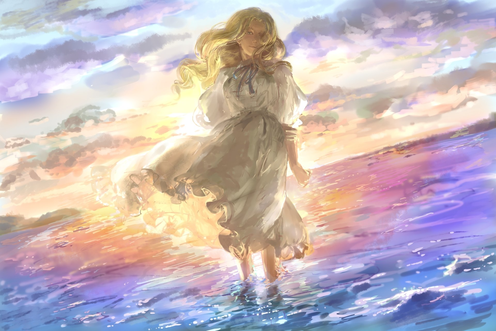 Movie - When Marnie Was There  Artistic Painting Girl Child Blonde Dress Wallpaper