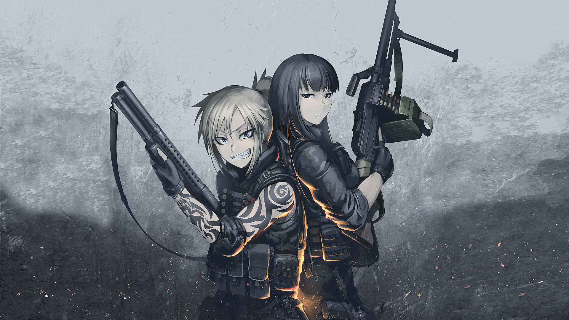 Original hd wallpaper background image 1920x1080 id - Gun girl anime ...