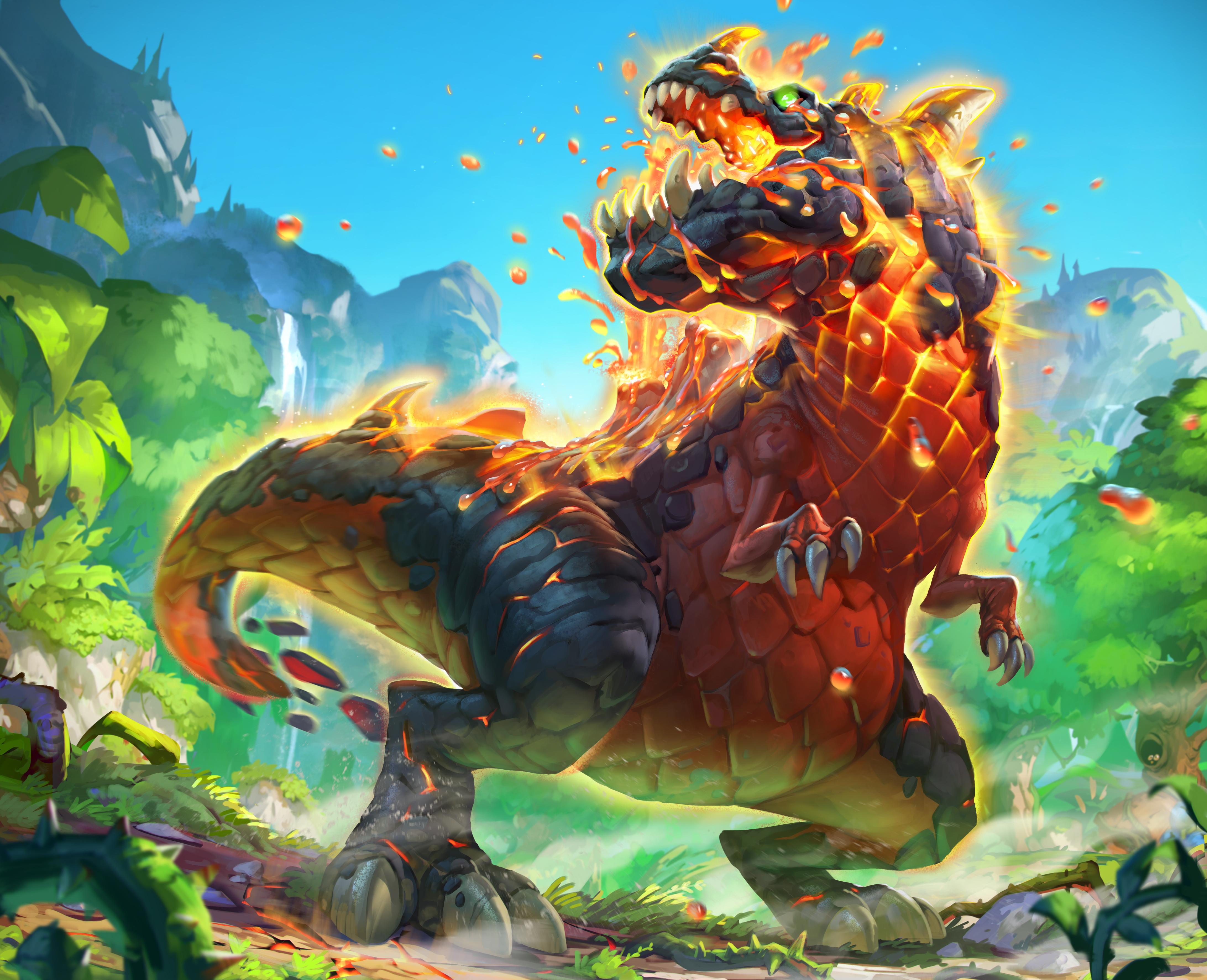 hearthstone warcraft heroes dinosaur volcanic rudy fantasy fire might fondo siswanto pantalla backgrounds concept ic desktop creature artwork arte 4k