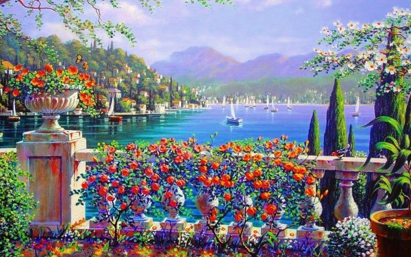 Artistic Painting Terrace Italy Landscape Sea Boat Tree Flower Colorful HD Wallpaper | Background Image