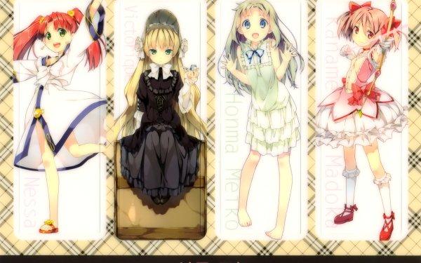 Anime Crossover Anohana Puella Magi Madoka Magica Fractale Goshikku Meiko Honma Nessa Victorique de Blois Madoka Kaname Fondo de pantalla HD | Fondo de Escritorio
