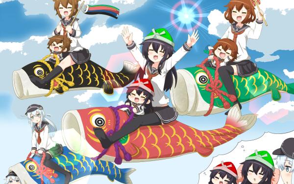 Anime Kantai Collection Ikazuchi Inazuma Akatsuki Hibiki HD Wallpaper | Background Image