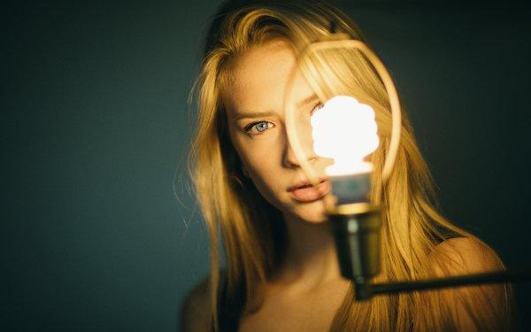 Women Model Models Light Bulb Blonde Face Blue Eyes HD Wallpaper | Background Image