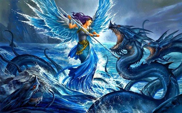 Fantasy Angel Warrior Angel Creature Sea Monster HD Wallpaper   Background Image