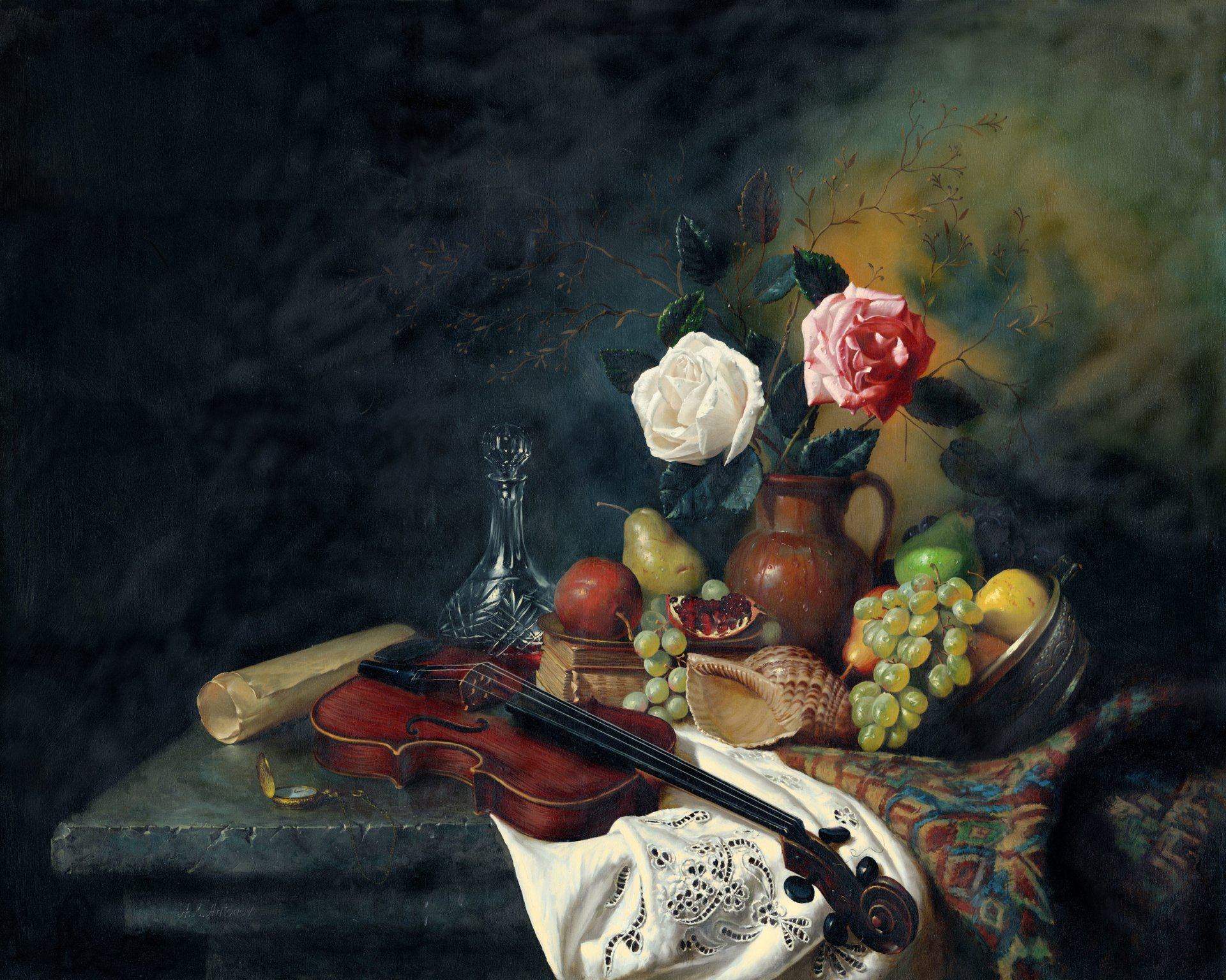 Artistic - Painting  Artistic Still Life Flower Fruit Vase Colorful Violin Wallpaper