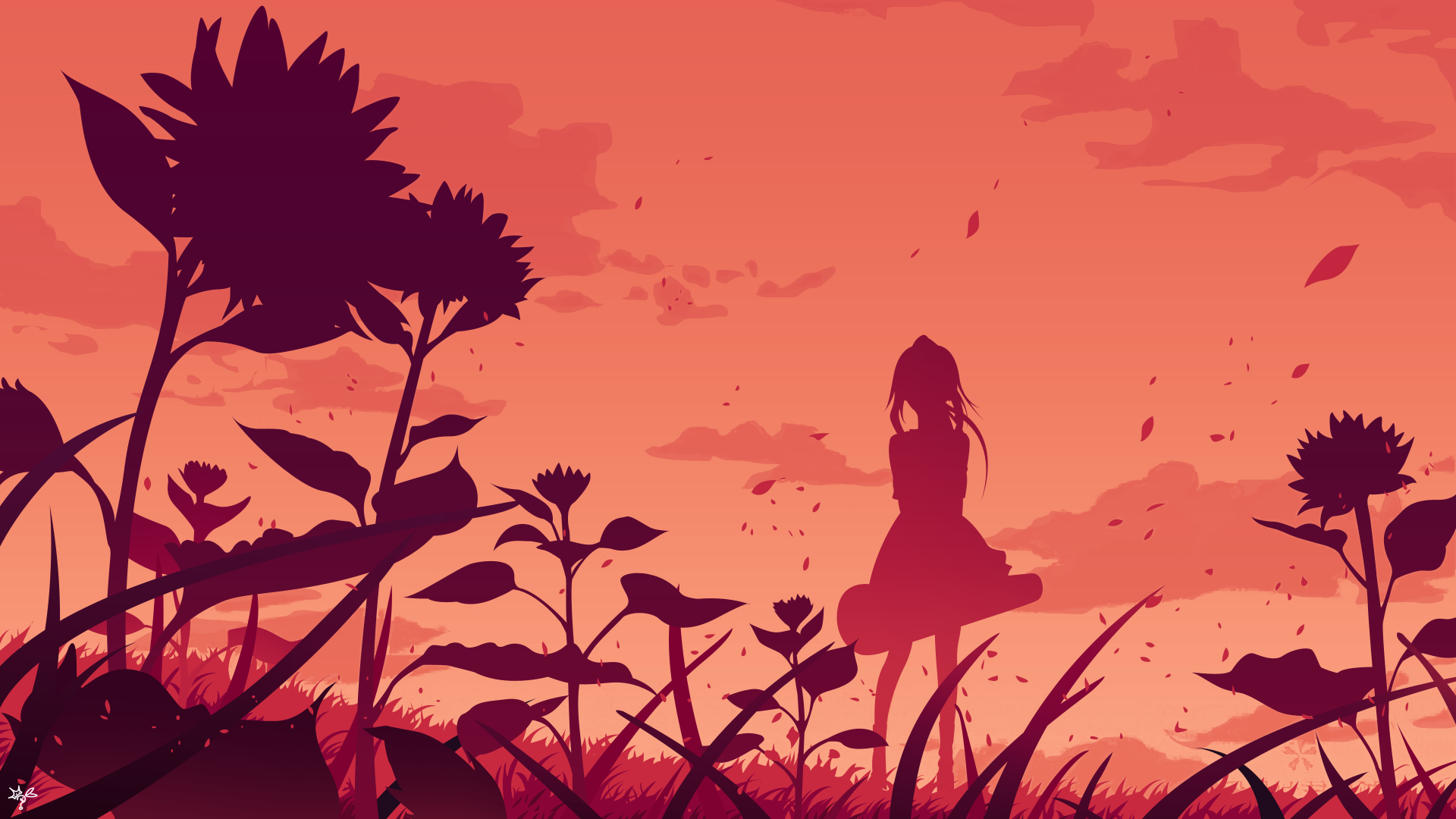 Anime - Your Lie In April  Orange Kaori Miyazono Flower Silhouette Girl Wallpaper