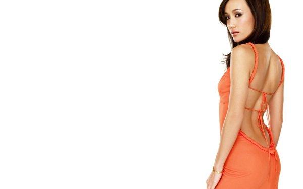 Celebrity Maggie Q Actresses United States Actress Brunette Brown Eyes Orange Dress HD Wallpaper | Background Image