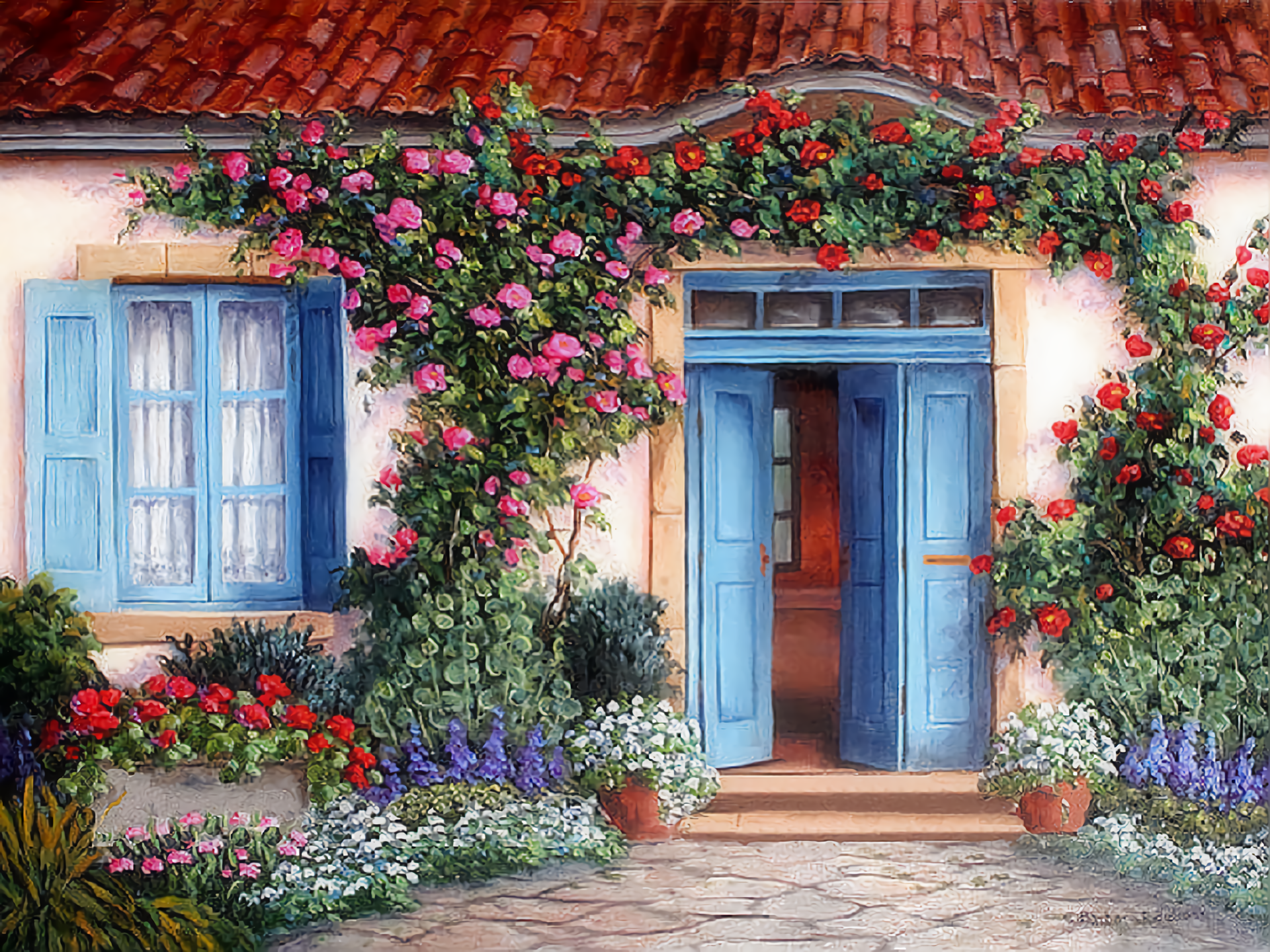Cute house with flowers full hd wallpaper and background for Wallpaper for home entrance