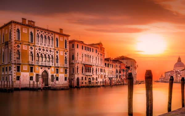 Man Made Venice Cities Italy Grand Canal Building Architecture Sunset HD Wallpaper | Background Image