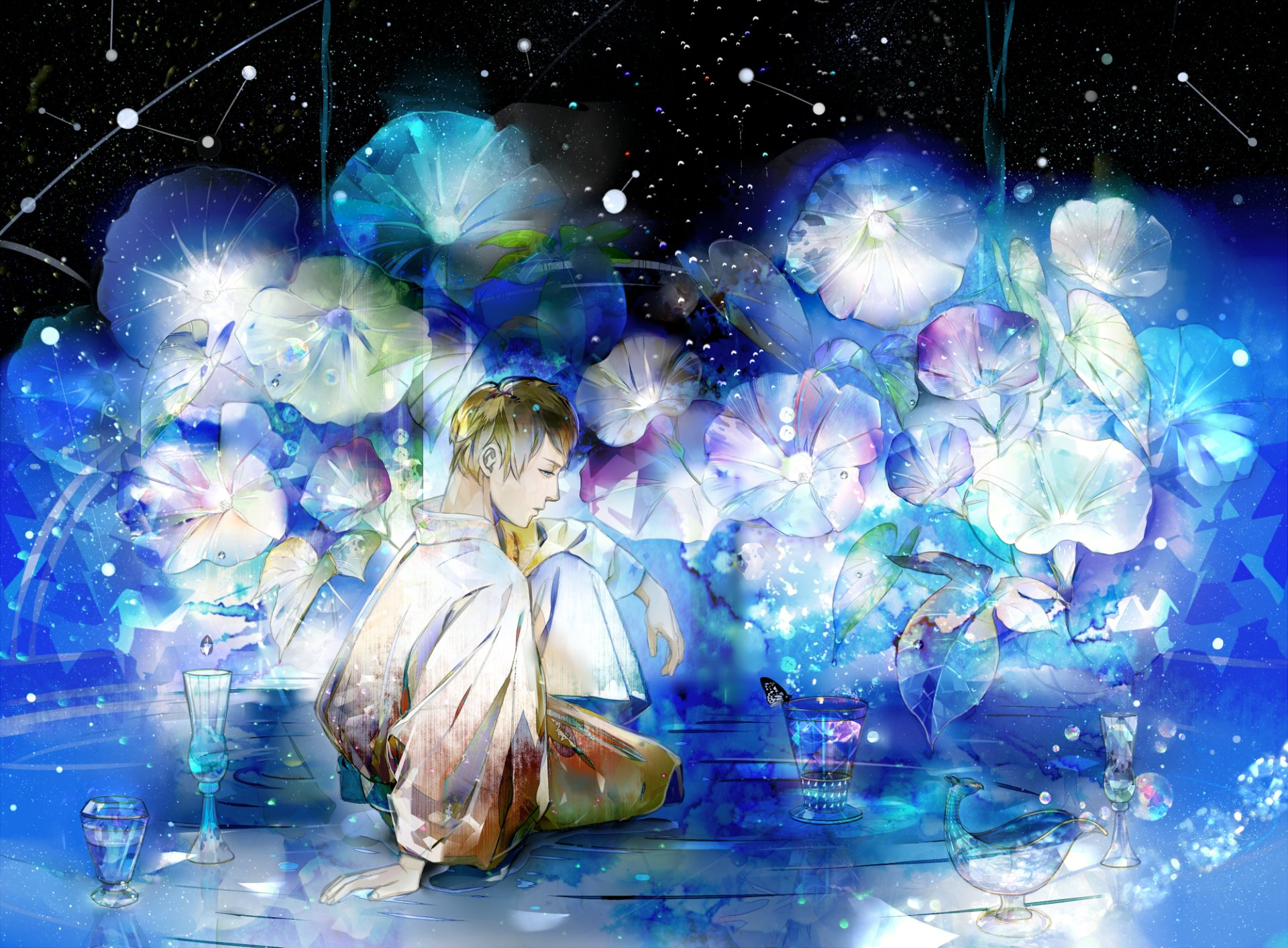 Anime - Original  Boy Short Hair Brown Hair Blue Water Reflection Flower Black Purple Colorful Butterfly Wallpaper
