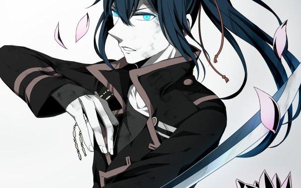 Anime D.Gray-man Yu Kanda D. Gray Man Long Hair Ponytail Sword Weapon Petal Flower Blue Eyes Blue Hair HD Wallpaper | Background Image
