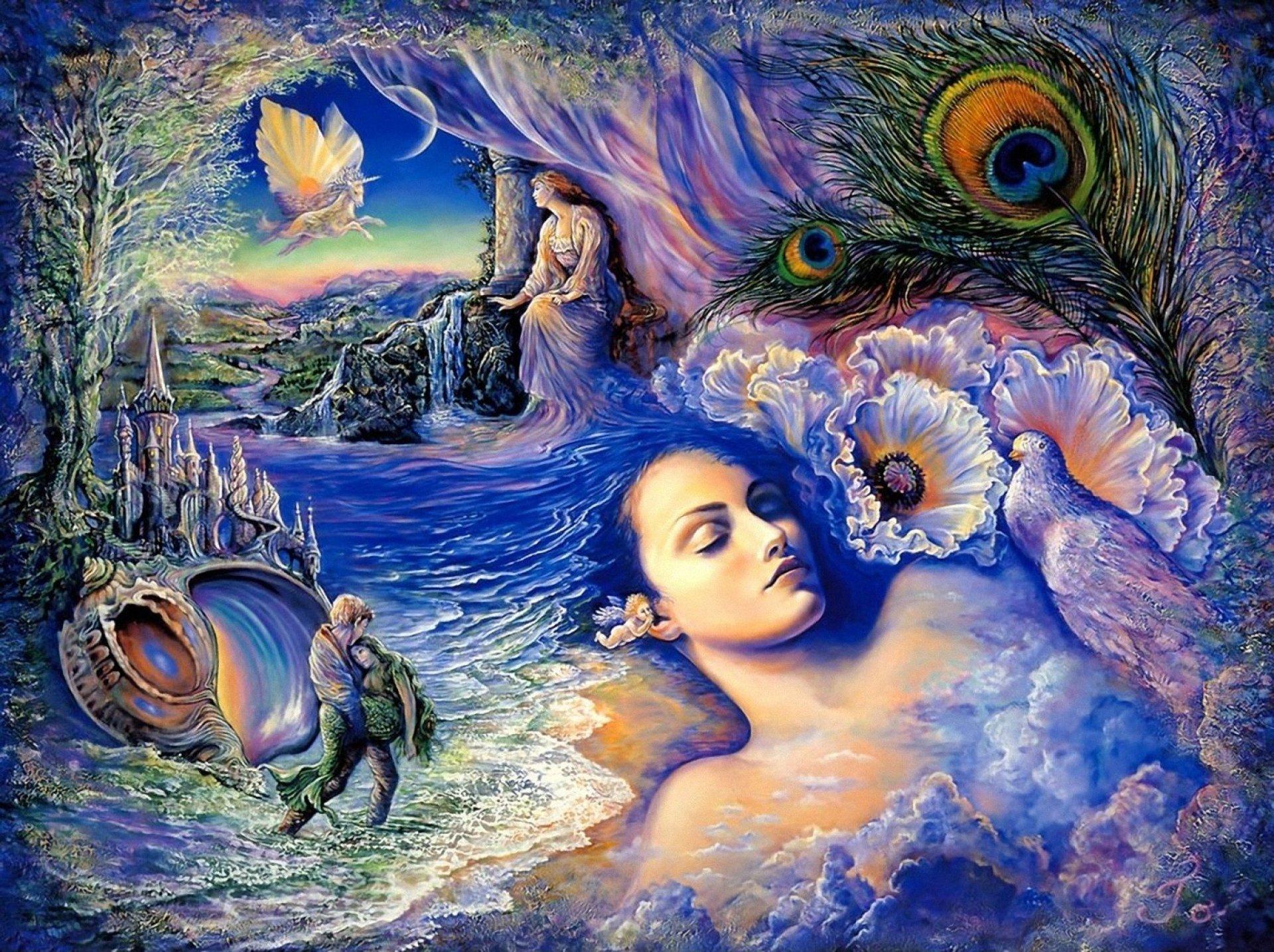 Artistic - Fantasy  Mermaid Artistic Woman Girl Sleeping Wallpaper