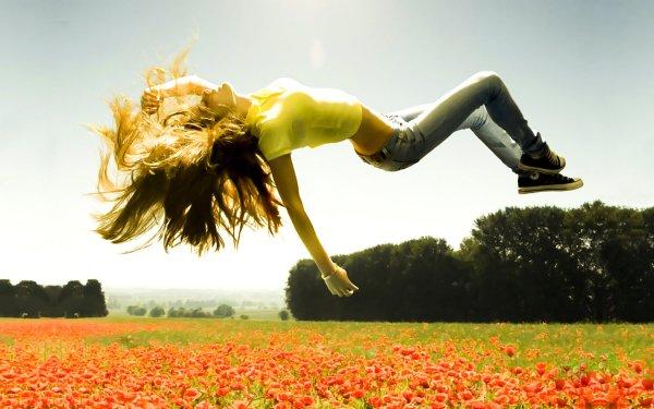 Women Artistic Woman Floating Flower HD Wallpaper | Background Image