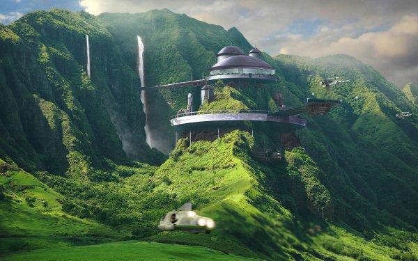 Science Fiction Paysage Maison Fond d'écran HD | Image