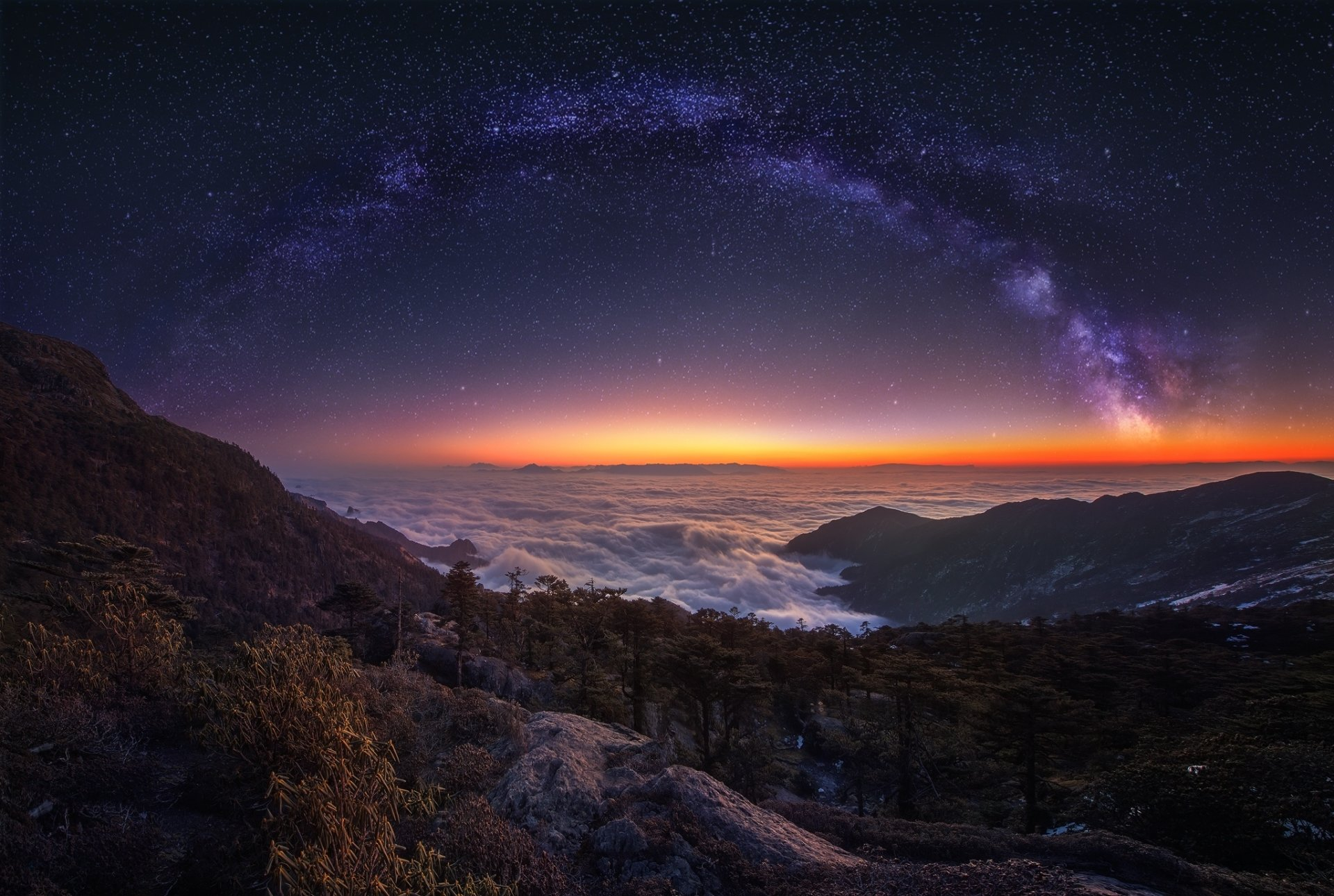 Earth - Night  Nature Landscape Panorama Sky Cloud Stars Milky Way Starry Sky Wallpaper