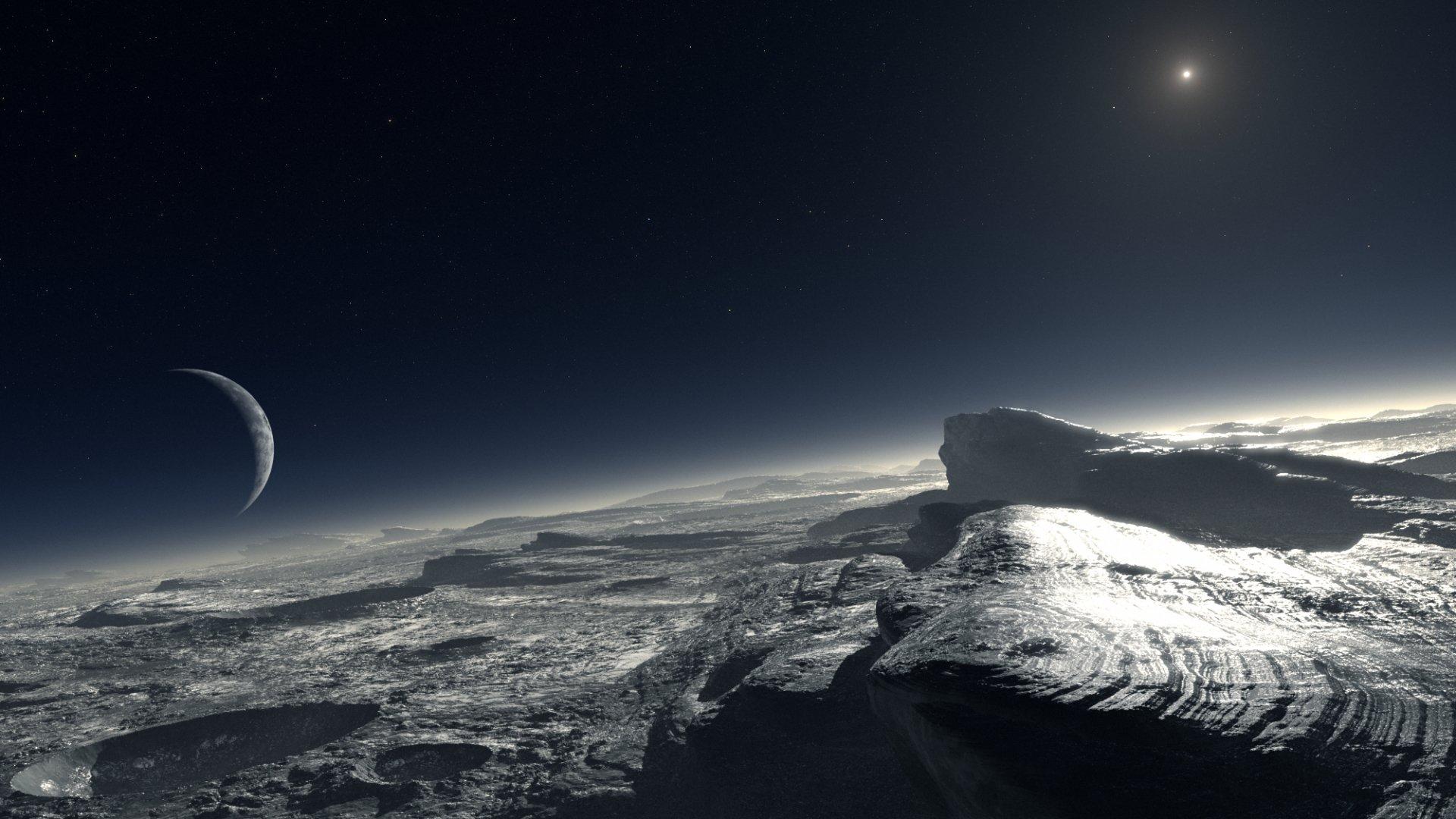 Научная Фантастика - Планетарный Ландшафт  Ландшафт Звезды Планета Научная Фантастика Обои
